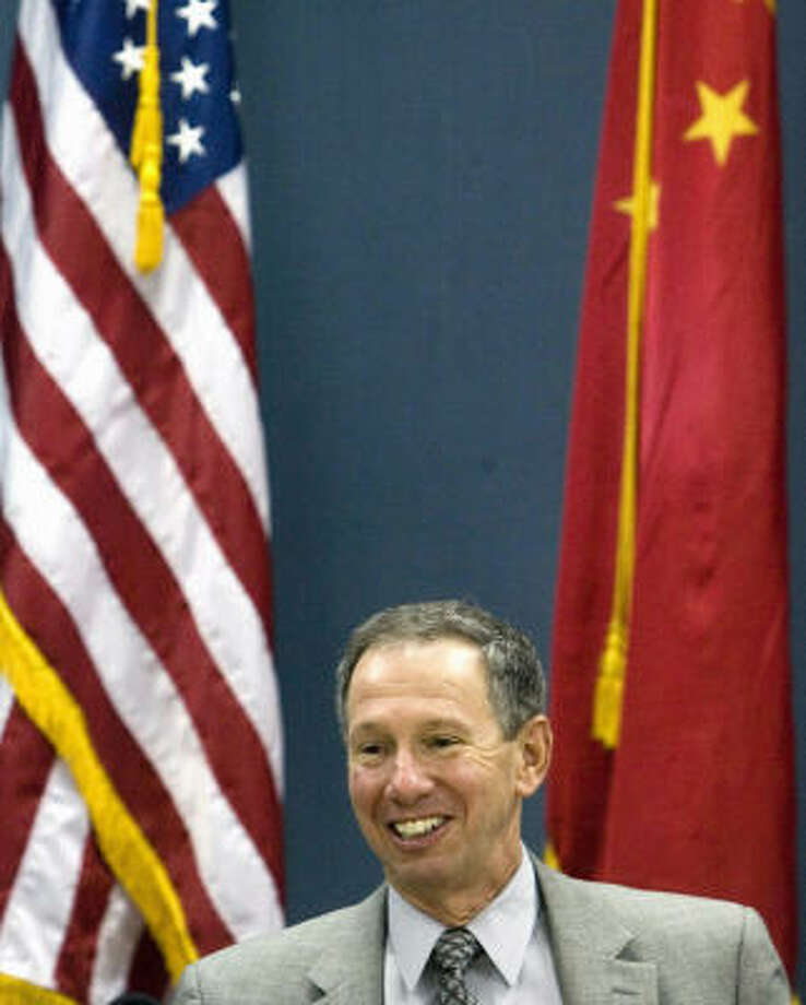 NASA administrator Michael Griffin, at a news briefing at the U.S. Embassy in Beijing, said future space alliances with China will depend on how well China can settle policy differences with the U.S. Photo: NG HAN GUAN, AP