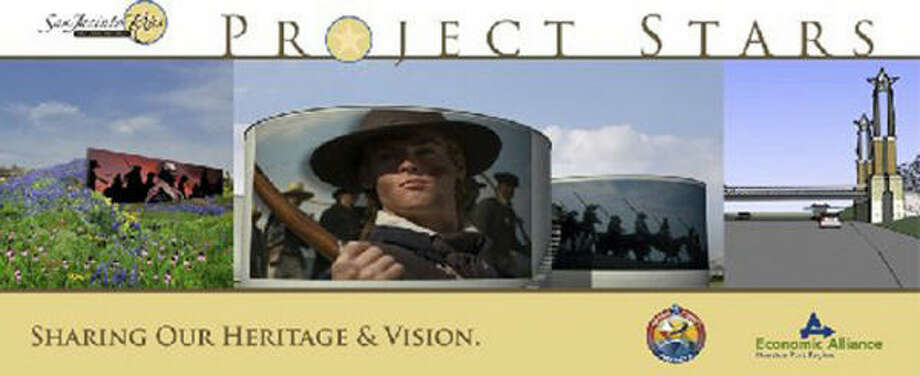 This Project Stars promotional banner shows some of proposals including, from left, bluebonnets and a mural, petroleum tanks with battles scenes and monuments at a star area. Photo: ECONOMIC ALLIANCE HOUSTON PORT REGION