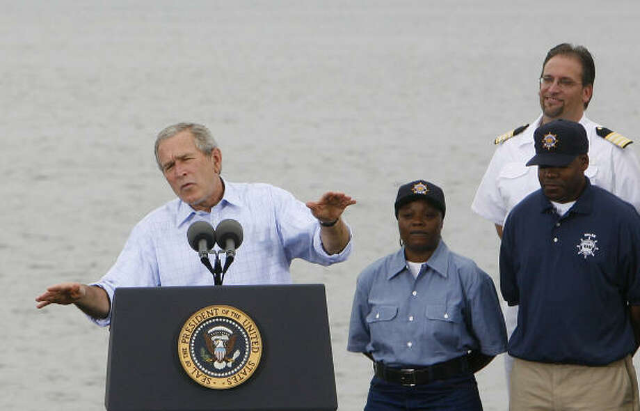 President Bush makes remarks on Labor Day after touring the Paul Hall Center for Maritime Training and Education. Photo: JIM WATSON, AFP/Getty Images