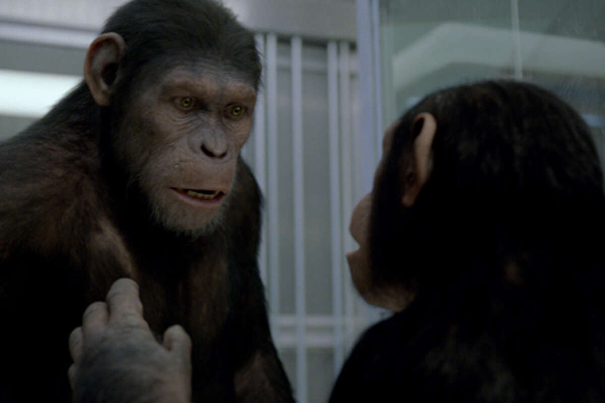 """(L-R) Caesar and Cornelia in """"Rise of the Planet of the Apes."""""""