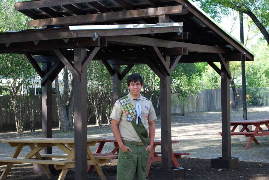 Alec Rodriguez, with private donations and volunteer help, built a garden pavilion at the TLLC. Courtesy photo Photo: Courtesy Photo,  _