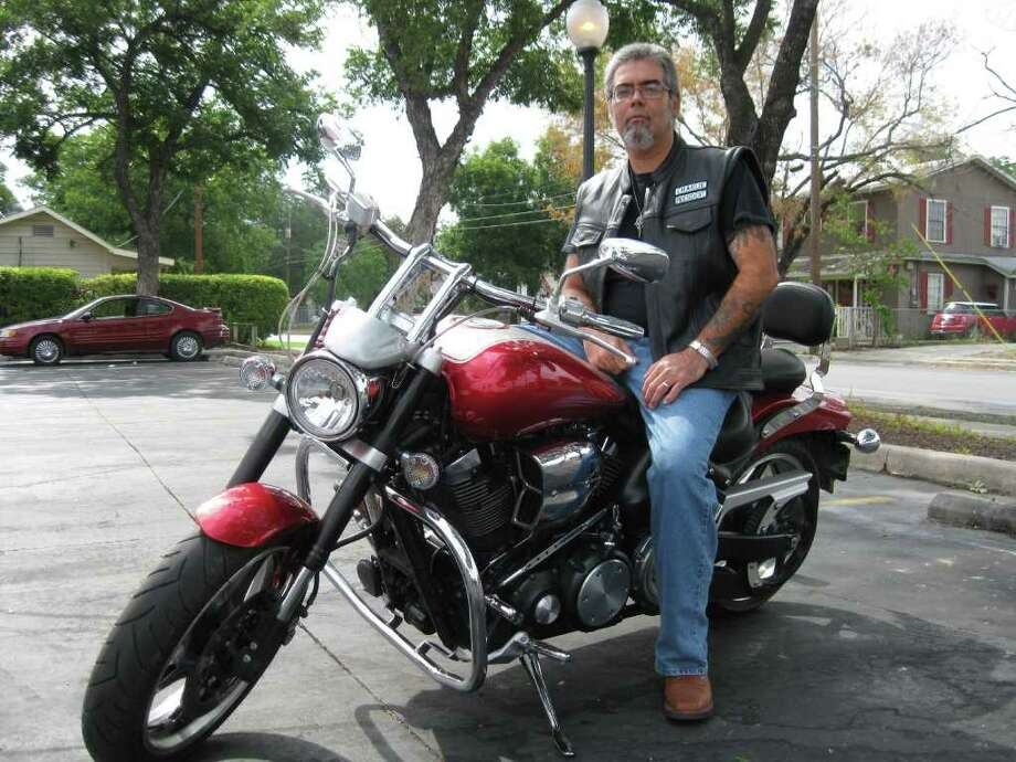 """Charlie Saenz recently founded the Way Motorcycle Ministry """"for bikers trying to find out about Jesus Christ."""" Photo by Meredith Canales Photo:  _"""