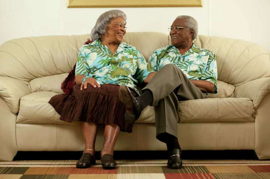 Lela and Vernon Johnson, married 64 years this month, are photographed Thursday noon July 14, 2011 on the sofa in their living room for a Love Story feature.  Nathan Lindstrom/For the Chronicle  ©2010 Nathan Lindstrom Photo: Nathan Lindstrom, Freelance / ©2011 Nathan Lindstrom