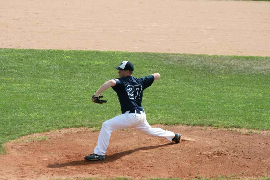 Westport Senior Legion's Alex Bauer prepares to pitch it against Ridgefield Saturday. Bauer allowed three runs, two earned, on five hits, walked two and struck out five in a complete game, 4-3 home victory. Photo: Lyne Kiedaisch / Contributed Photo