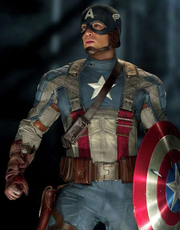 """In this film publicity image released by Paramount Pictures, Chris Evans is shown in a scene from the film """"Captain America: The First Avenger.""""  (AP Photo/Paramount Pictures)"""