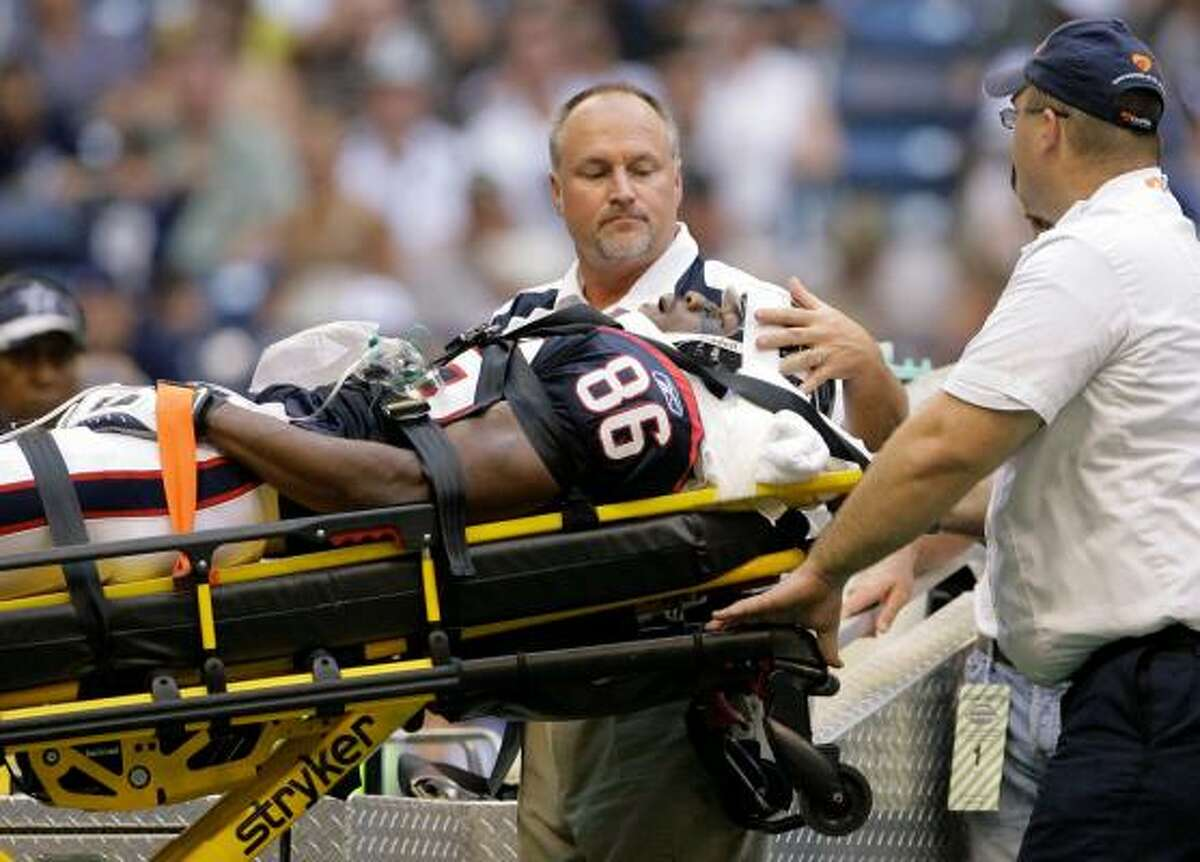 Texans WR Harry Williams was carted off the field while playing special teams against the Cowboys.