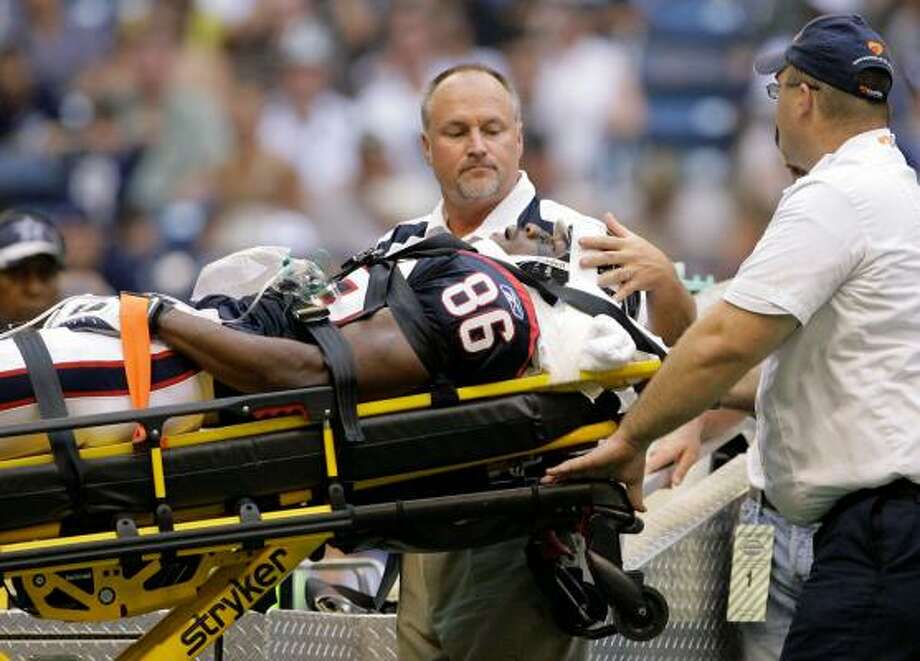 Texans WR Harry Williams was carted off the field while playing special teams against the Cowboys. Photo: Matt Slocum, AP