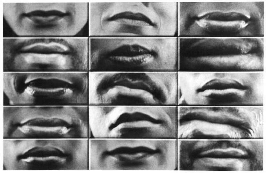 Lorna Simpson,  Easy to Remember, 2001. Video projection, 16mm film, black and white, sound, transferred to DVD.  On view in Cinema Remixed & Reloaded: Black Women Artists and the Moving Image Since 1970 at the Contemporary Arts Museum Houston. Photo: Denver Art Museum