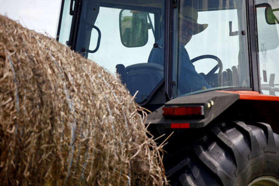 The view from his tractor's cab this year has Jerry Wieters smiling. From his fields near Marion, northeast of San Antonio, to the coast south of Houston, timely and plentiful rain has let Texas farmers and ranchers harvest several good crops of hay. Photo: LISA KRANTZ:, San Antonio Express-News
