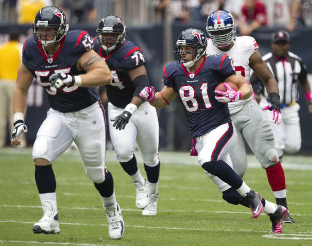 Since he'll become a restricted free agent in the offseason, tight end Owen Daniels (81) is returning in time to help both his personal finances and the Texans' fortunes on the field.