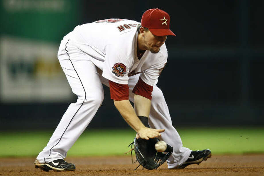 Chris Johnson is expected to be the starting third baseman this season. Photo: Michael Paulsen, Chronicle
