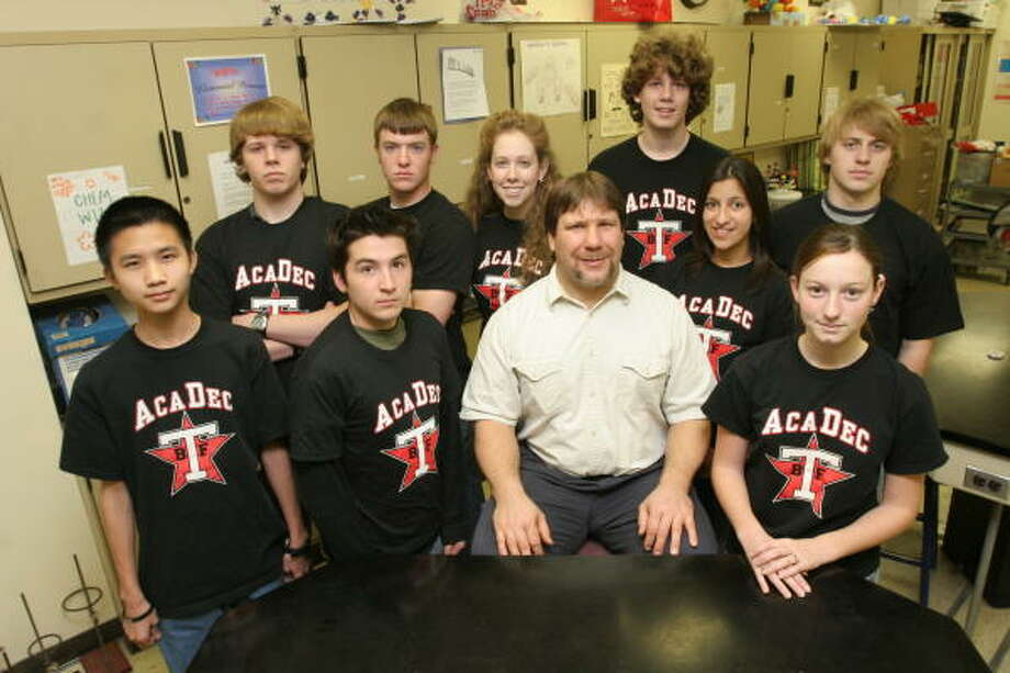 Terry High School academic decathlon team members are Johnny Hung, Jeremy Warren, Jacob Nowaczewski, coach and Kelli Curl;  back row, from left, Richard Arnold, Alan Lowry, Leandra Buck, Eli Buck,  Andani Alcantara and Steven Kots. Photo: Suzanne Rehak, For The Chronicle