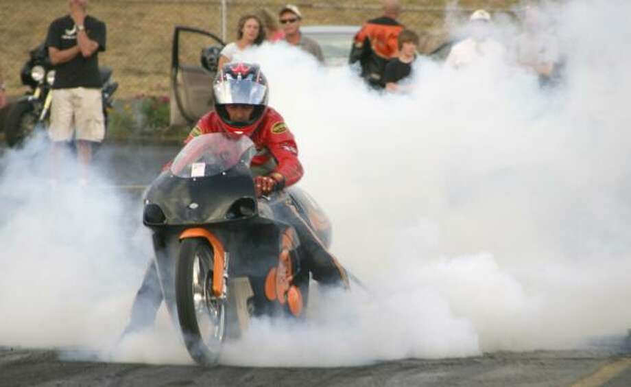 Scotty Pollacheck has done a quarter-mile in 8.22 seconds on his electric KillaCycle. Photo: CAROL BROWN, ASSOCIATED PRESS
