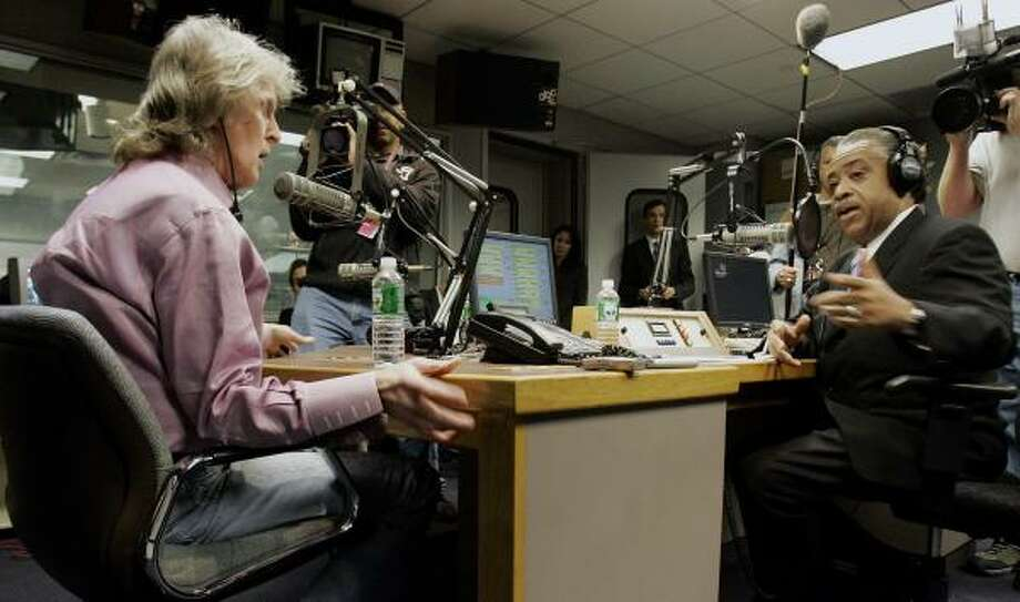 Radio personality Don Imus, left, and Rev. Al Sharpton appear face-to-face on Sharpton's radio show in New York today. Photo: RICHARD DREW, AP