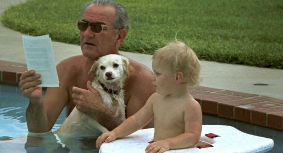 LBJ celebrates his birthday in 1968 with the family dog and grandson Patrick Lyndon Nugent. Photo: JOHNSON PRESIDENTIAL LIBRARY