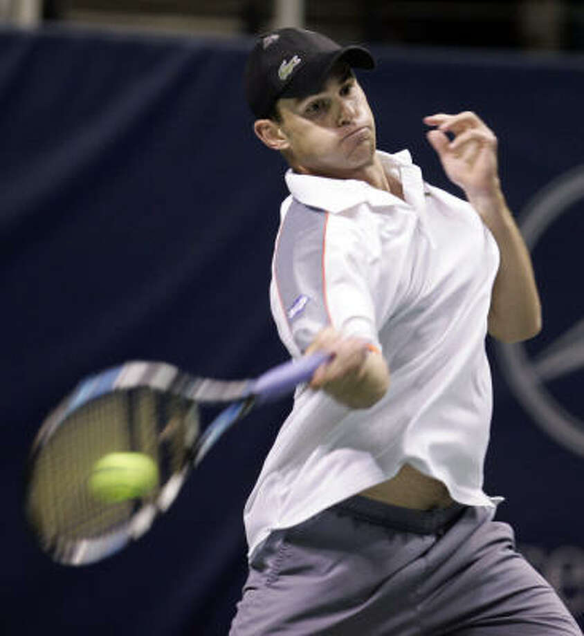 Andy Roddick was pushed to a third-set tiebreaker in the opening round at the SAP Open against lucky loser Chris Guccione before starting to find his groove. Roddick has accepted a wild-card entry to play in Memphis this week in order to get more work. Photo: Paul Sakuma, AP
