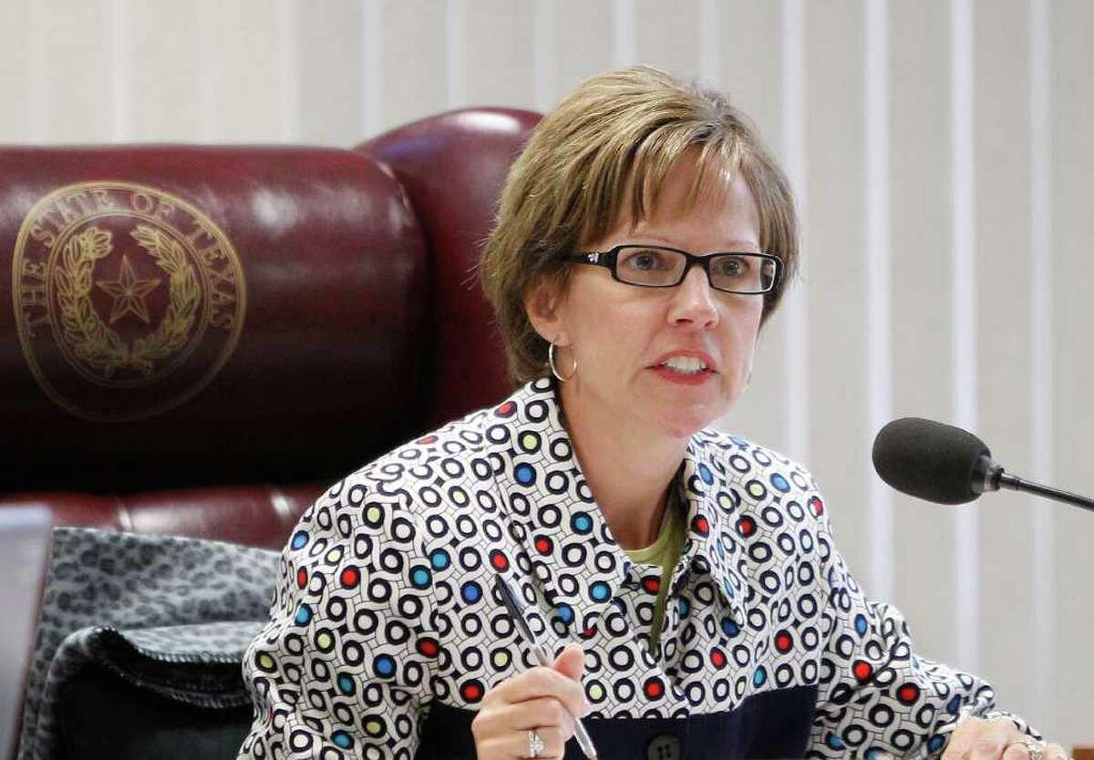 Texas Board of Education Chair Barbara Cargill talks during a Texas Board of Education meeting, Thursday, July 21, 2011, in Austin, Texas. (AP Photo/Eric Gay)
