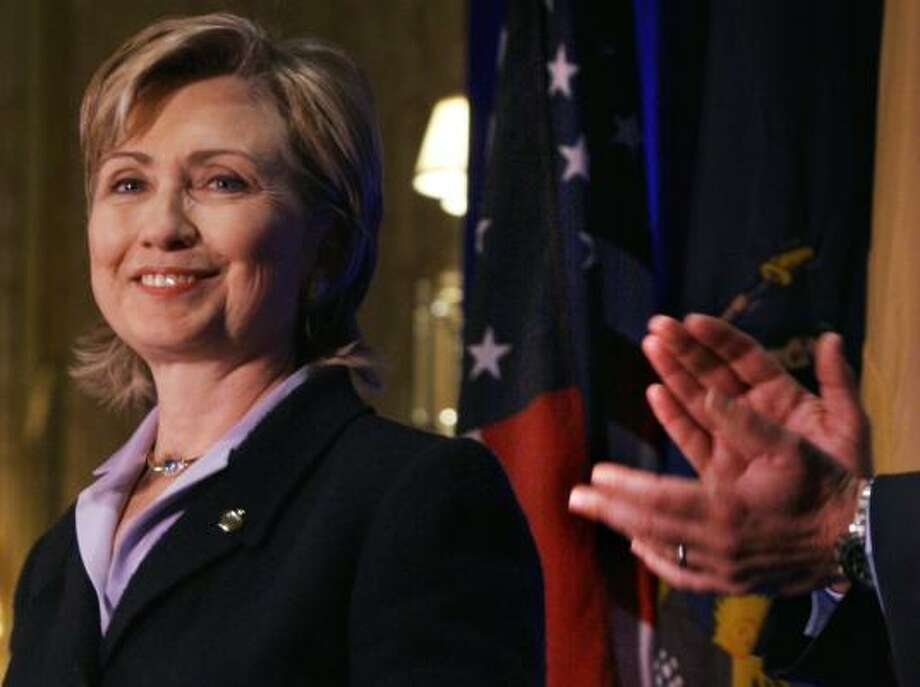 Sen. Hillary Rodham Clinton has more than twice the support of any of her Democratic presidential opponents, according to a poll completed Friday night. Photo: BEBETO MATTHEWS, ASSOCIATED PRESS FILE