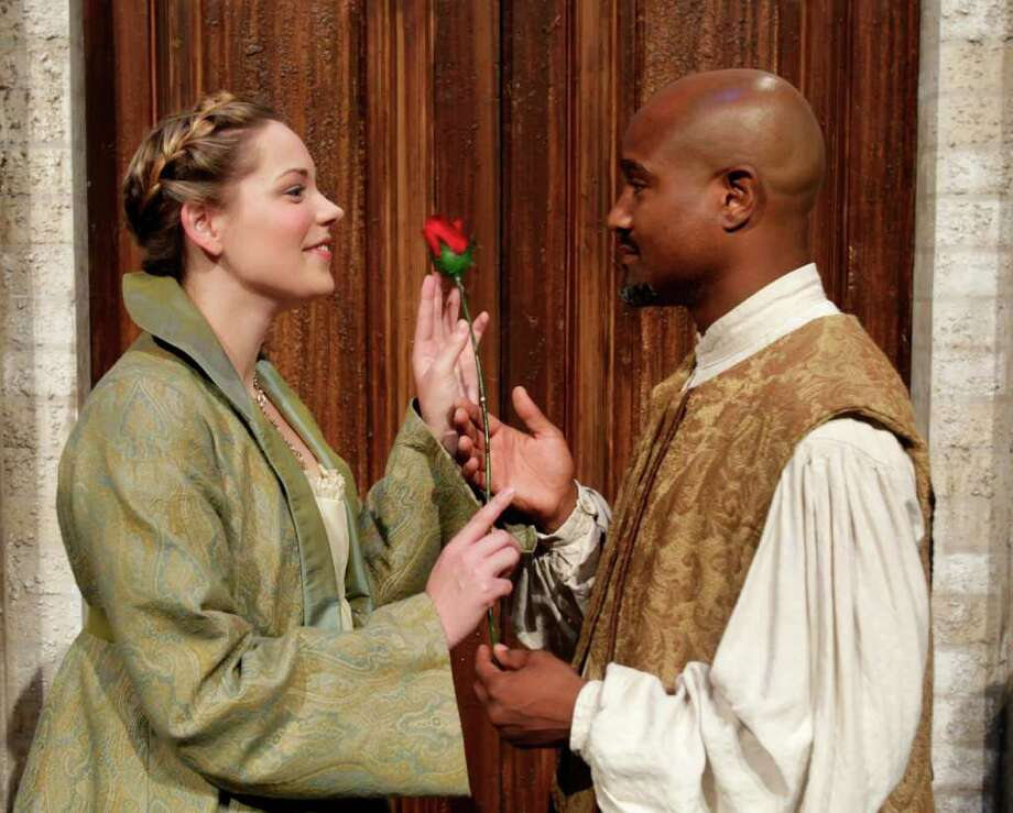 "Traicie Thomason (left) and Seth Gilliam (right) as they act out scenes from ""Othello"" at the University of Houston Friday, July 15, 2011, in Houston. The show can be seen during the Houston Shakespeare Festival at Miller Outdoor Theatre. ( Cody Duty / Houston Chronicle ) Photo: Cody Duty, Staff / © 2011 Houston Chronicle"
