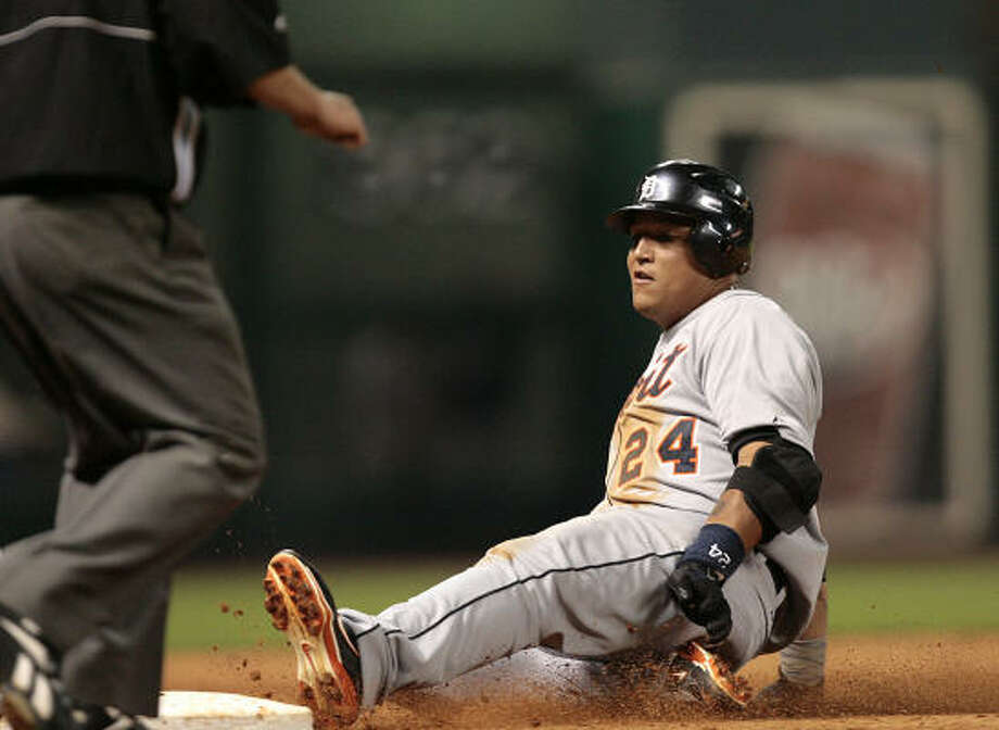 Miguel Cabrera and the Tigers scored far more runs than starter Jeremy Bonderman needed. Photo: Bob Levey, AP