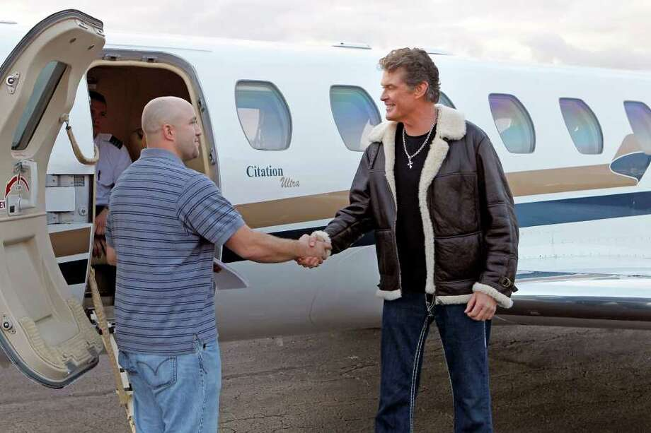 """""""Pilot""""--Celebrity David Hasselhoff trades places with David Hasselhoff Junior of Lake Jackson, Texas on the season premiere of SAME NAME Sunday, July 24 (9:00 -10:00 PM ET/PT) on the CBS Television Network. Photo: Sonja Flemming/CBS  2011 CBS Broadcasting Inc. All Rights Reserved. Photo: Sonja Flemming/CBS, STF / ©2011 CBS Broadcasting Inc. All Rights Reserved"""