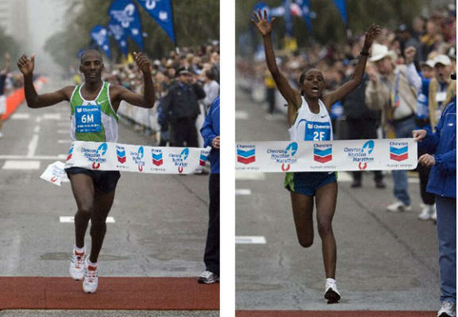 Ethiopians Feyisa Tusse, left, and Dire Tune came home winners in the 2007 Chevron Houston Marathon. Photo: Smiley N. Pool, Chronicle