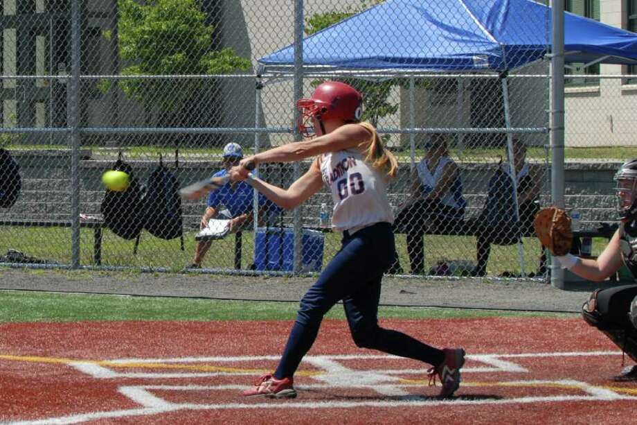 Tradition's Katie Schmidt connects for a base hit during a recent game. Photo: Nancy Souza/Contributed Photo