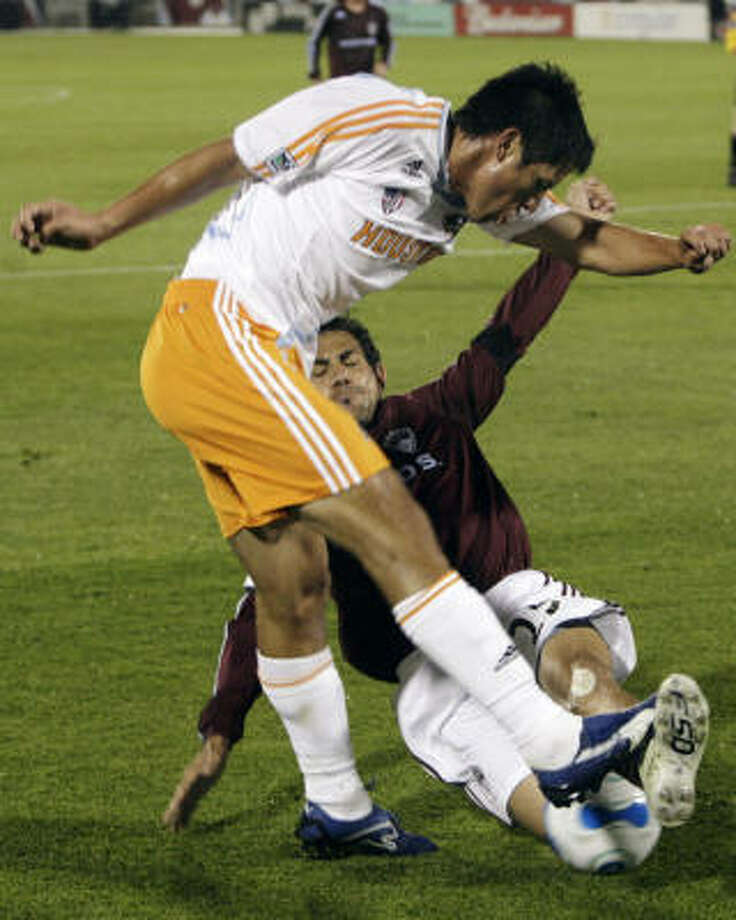 Brain Ching (left) scored the equalizer in the 3-1 victory Saturday night for the forward's second goal this season. Photo: David Zalubowski, AP