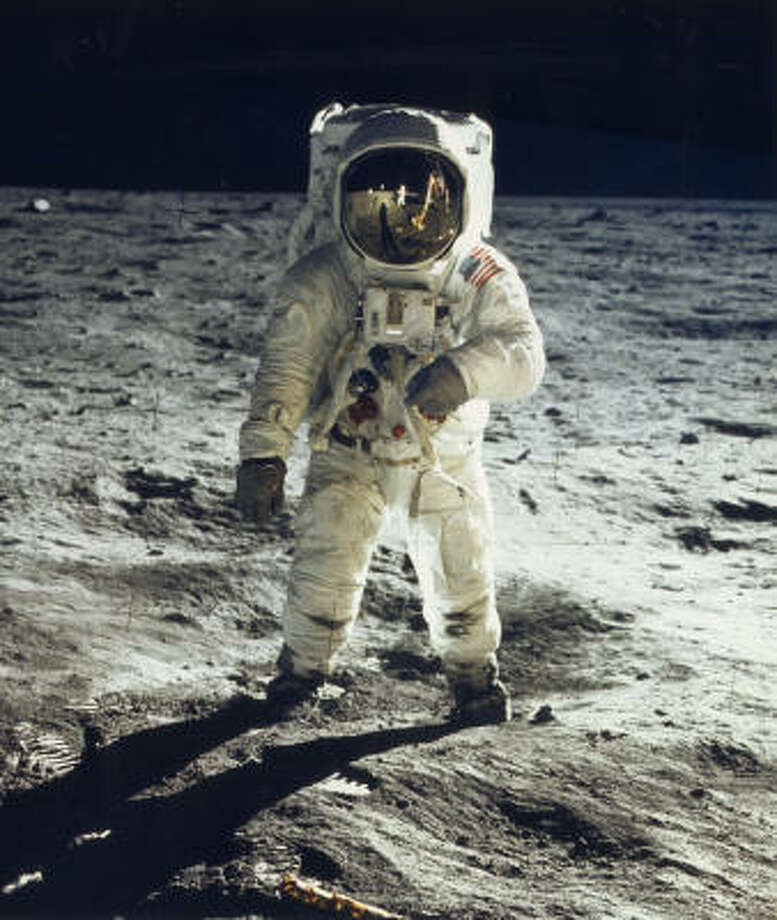 Apollo 11 (Lift off July 16, 1969): Astronaut Edwin E. ``Buzz'' Aldrin Jr. walks on the surface of the moon on July 20, 1969. Photo: NASA | APF | Getty Images
