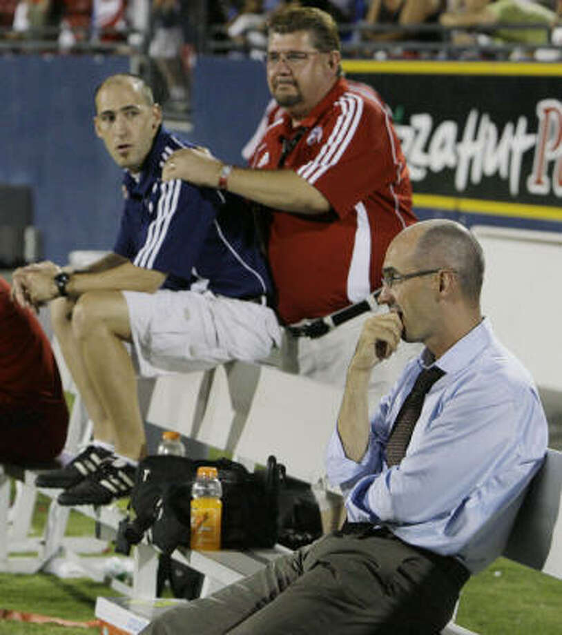 """Even though a tie Friday against the Dynamo at Robertson Stadium will send FC Dallas to the Western Conference final, coach Steve Morrow says, """"We're going there to win the game."""" Photo: Matt Slocum, AP"""