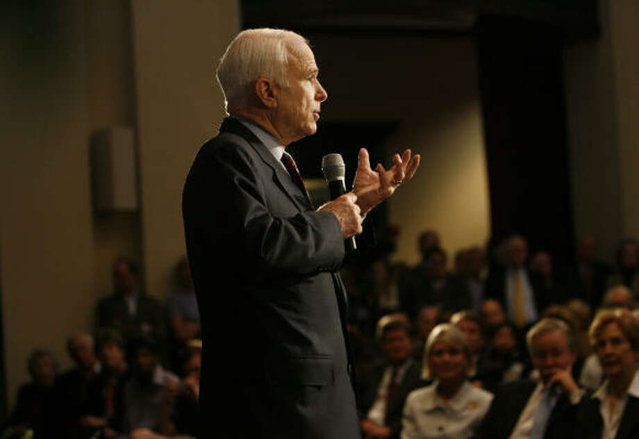 Presidential candidate Sen. John McCain, R-Ariz.,  holds a town hall meeting at the Baker Institute at Rice University on Thursday. Photo: Sharon Steinmann, Chronicle