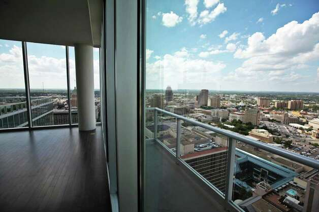 A view from a penthouse living area at Alteza Luxury Residences in Downtown San Antonio is pictured July 12, 2011.   ANDREW BUCKLEY / abuckley@express-news.net Photo: ANDREW BUCKLEY, SAN ANTONIO EXPRESS-NEWS / abuckley@express-news.net