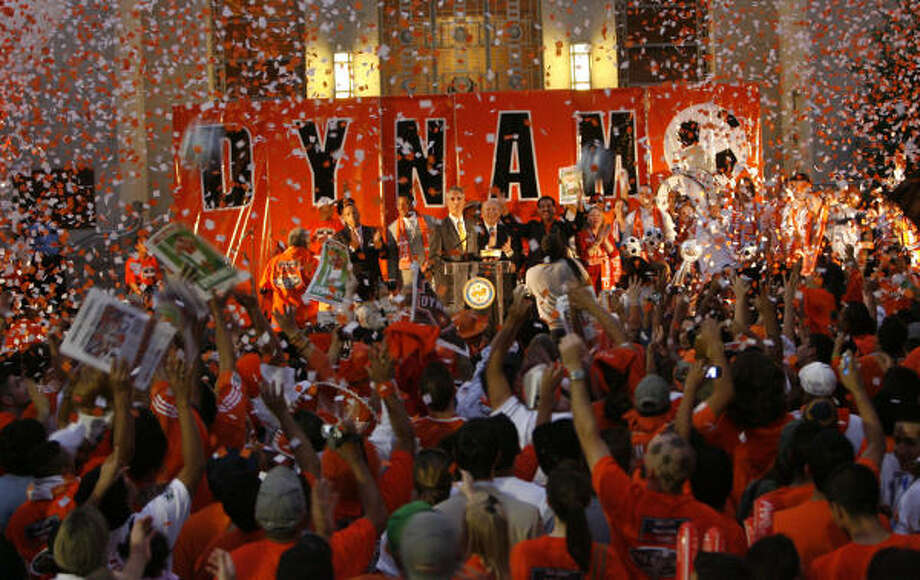 Oliver Luck and the Dynamo have succeeded in making Houston a real soccer town. On Nov. 14, thousands of fans gathered at City Hall for the team's victory party. Photo: Carlos Antonio Rios, Houston Chronicle