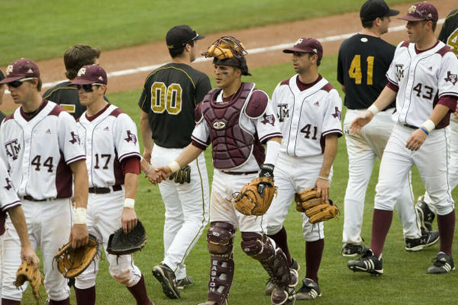 The Aggies celebrate Saturday's 6-2 win over Missouri in the Big 12 baseball tournament. Photo: Alonzo Adams, AP