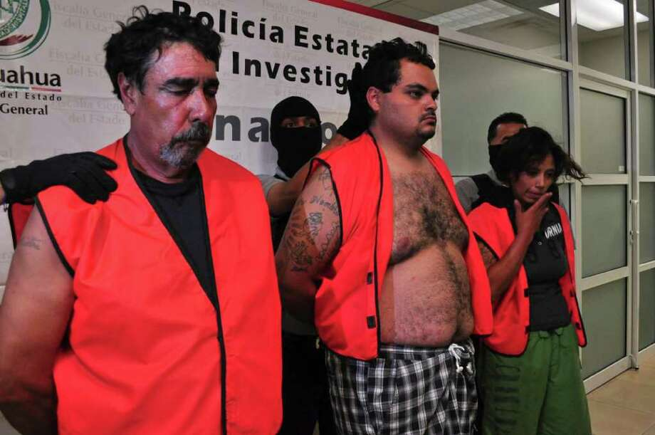 Lizbeth Nayeli Rodriguez Alanis, 22, right, Victor Alfonso Cano Molina, 24, center, and Antonio Tarango Montes, 60, are shown to the press by police in the northern border city of Ciudad Juarez, Mexico, Thursday July 21, 2011. Rodriguez Alanis, and the two other men were arrested and she is being accused of masterminding the kidnap and subsequent murder of her lover, Jorge Dieppa, 57, a U.S. federal court employee in West Texas that she met at a bar 5 years ago, after his family failed to pay the $10,000 ransom. (AP Photo/Raymundo Ruiz) Photo: Raymundo Ruiz, STR / AP