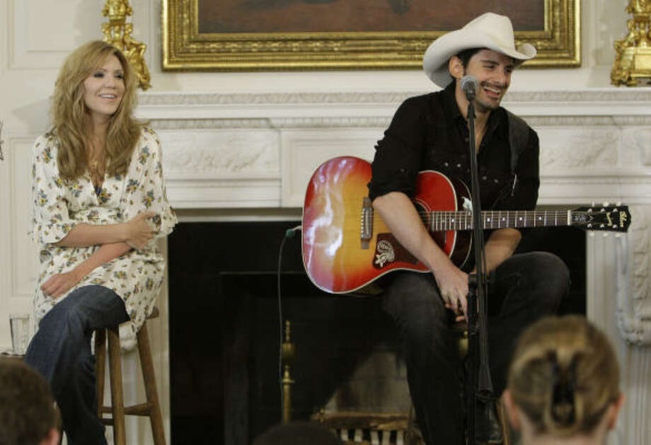 Country music stars Alison Krauss and Brad Paisley sing and talk about their work as part of the White House music series celebrating country music in the State Dining Room at the White House on Tuesday. Photo: Alex Brandon, Associated Press