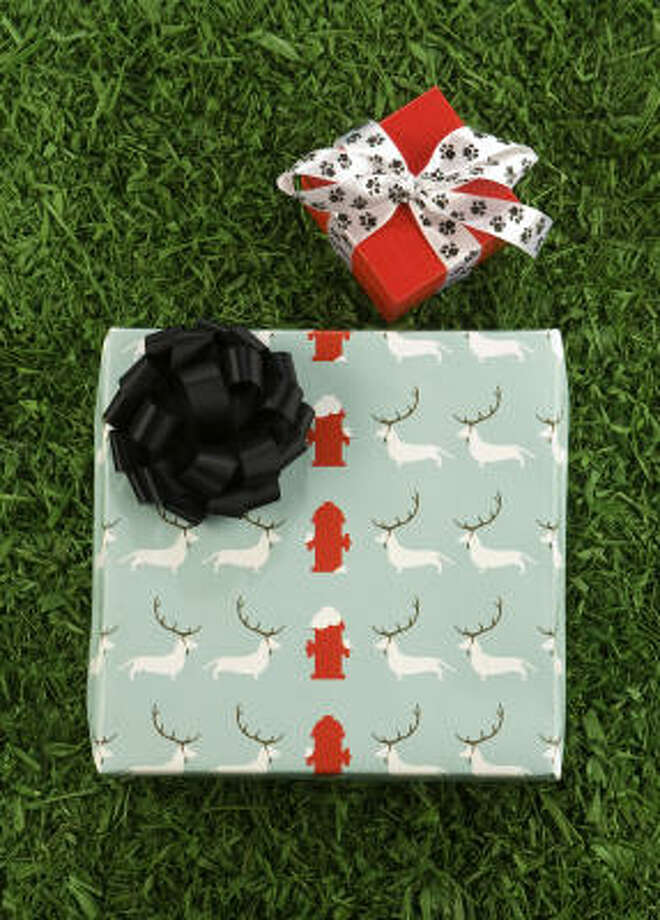 Chilly Dogs recycled gift wrap and ribbon. Photo: Brett Coomer, Chronicle