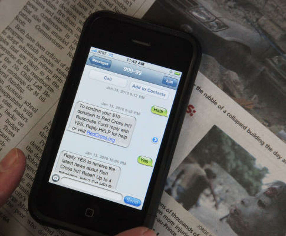 The Red Cross is among several organizations collecting donations for Haiti relief efforts via text messages.