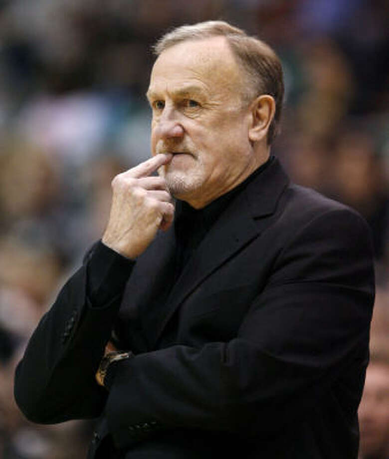 Rockets coach Rick Adelman is in the final year of his contract but says he's only worried with the remainder of the season. Photo: Steve C Wilson, AP