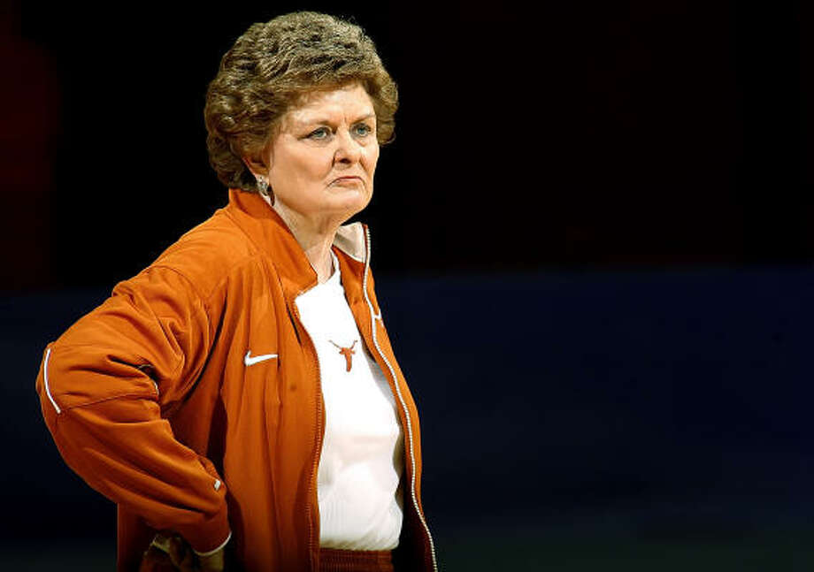 Jody Conradt (shown at Monday's practice) and UT will play Oklahoma on Wednesday. Photo: Ty Russell, AP