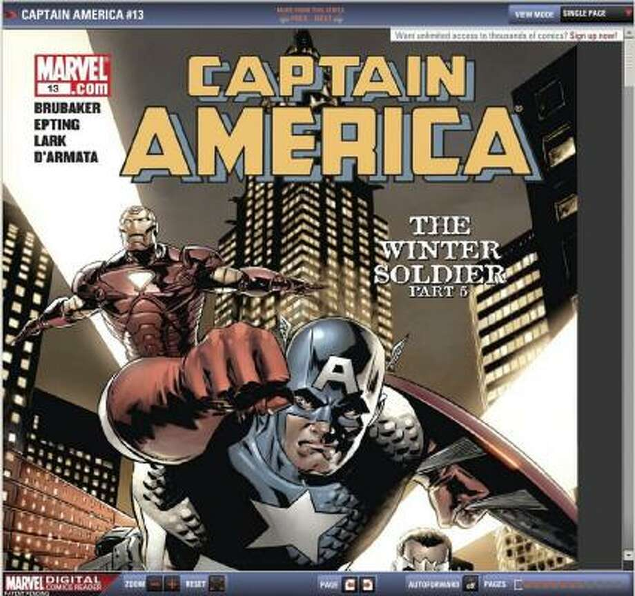 In a tentative move onto the Internet, Captain America, pictured in this screengrab, and other older Marvel Comics will be available online. Photo: MARVEL ENTERTAINMENT | ASSOCIATED PRESS