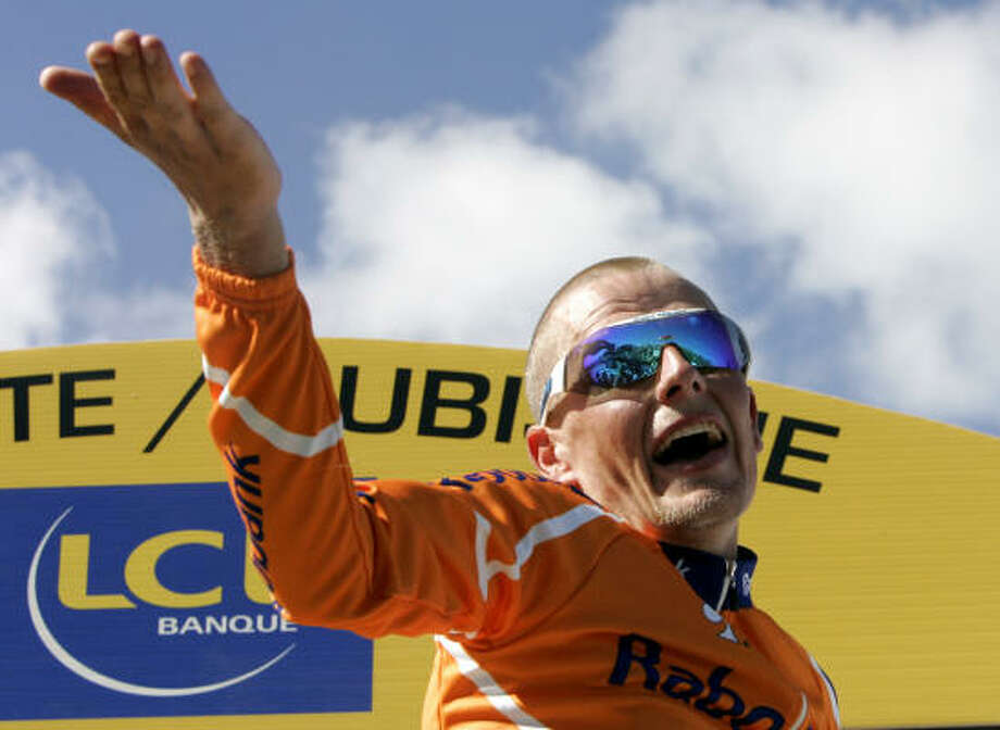 Stage winner and overall leader Michael Rasmussen was removed from the race Wednesday. Photo: CHRISTOPHE ENA, AP
