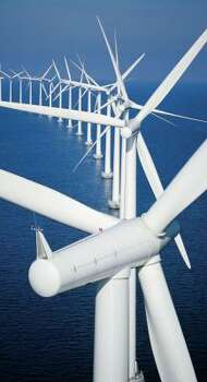 An offshore wind farm at Middelgrunden, Denmark, employs 20 turbines.  Photo: LM GLASFIBER