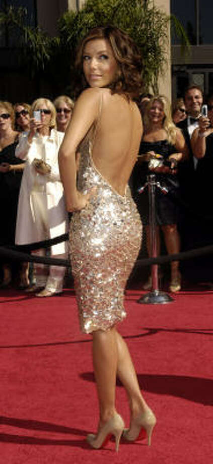 Eva Longoria wore this figure-flattering Kaufman Franco dress to the recent Emmy Awards. Photo: Chris Pizzello, AP