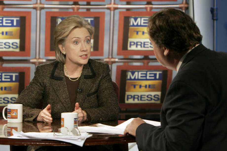 Sen. Hillary Rodham Clinton's appearance with Tim Russert on Meet the Press Sunday turned tense when they discussed her vote on the Iraq invasion. Photo: Perry Baker, Meet The Press