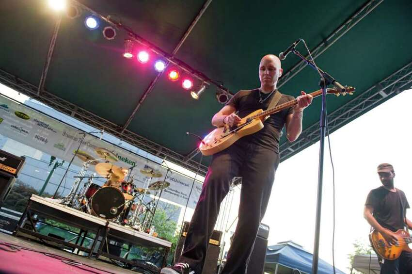 Matt Scannell takes the stage with Vertical Horizon as they headline Alive@Five at Columbus Park in Stamford, Conn., July 21, 2011. Mission Hill and Seth Adam opened the show.