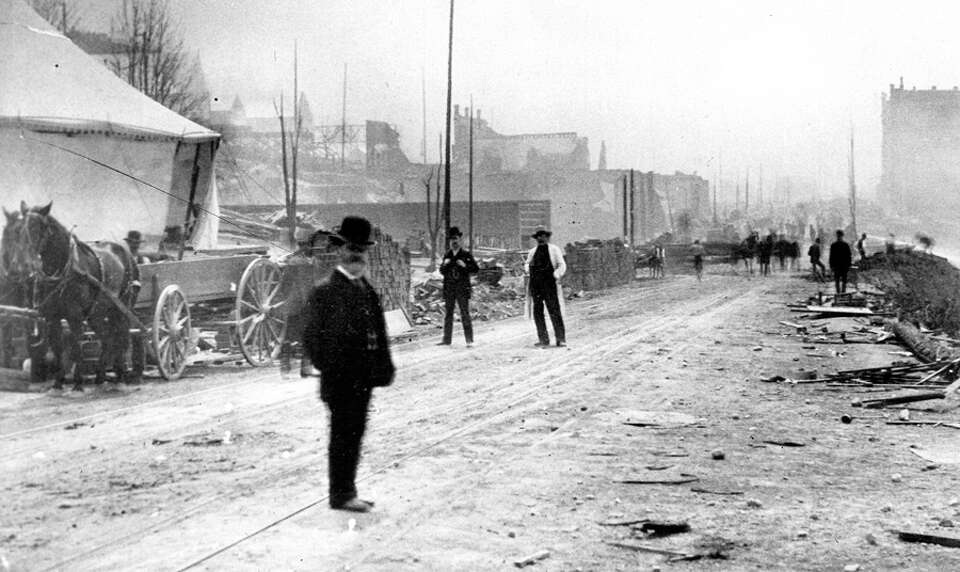 An image taken after the Great Seattle Fire, which started the afternoon of June 6, 1889.