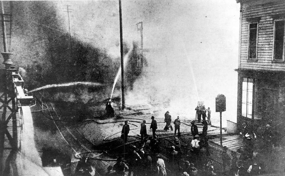 The Great Seattle Fire swept through the city on June 6, 1889, leaving a smoldering city ready to be rebuilt. Take a look back at the devastated city. The photo, from seattlepi.com's archive, is said to be from the Great Seattle Fire of 1889. Photo: Seattlepi.com File