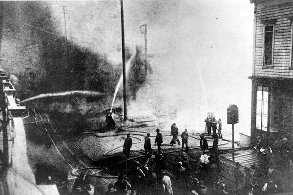 The photo, from seattlepi.com's archive, is said to be from the Great Seattle Fire of 1889. Washington was admitted to the union on Nov. 11, 1889.