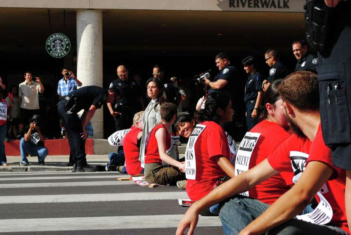 About 200 hotel workers and supporters rallied Thursday outside the Grand Hyatt hotel downtown to protest what they said were unfair work conditions. Courtesy of Emma Hernandez